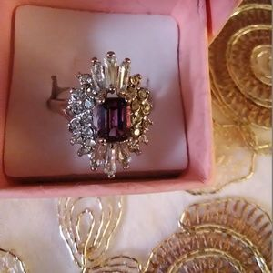 Purple stone rhinestones ring size 9